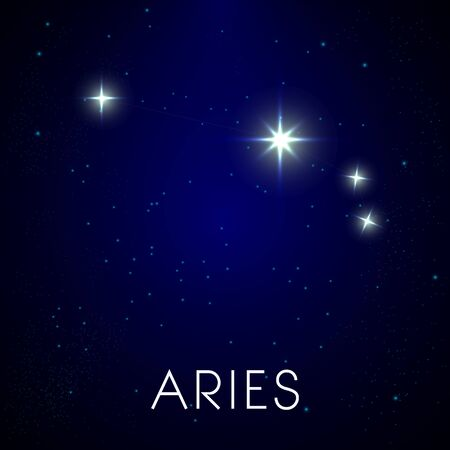 Zodiac stars constellation, aries sign in night sky Illustration