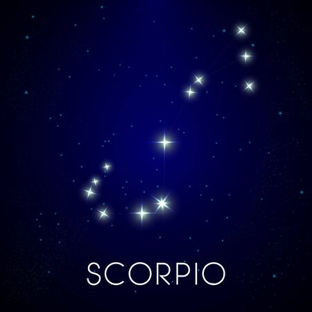 Zodiac constellation of Scorpio, astrological sign in night sky