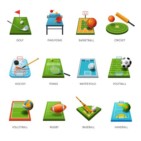Fields and sport equipment isolated icons, play game