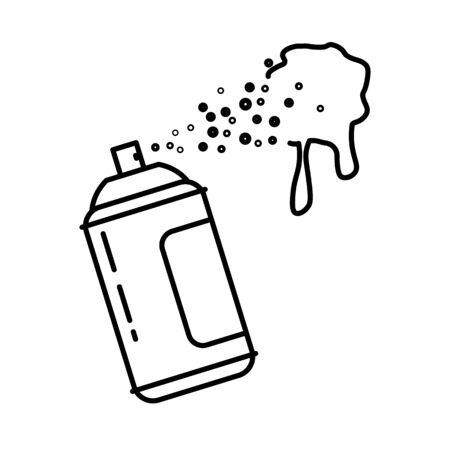 Spray bottle or paint can isolated line icon, graffiti drawing