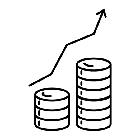 Investment growth graphic, banking and finance isolated line icon