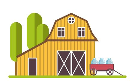 Rural barn and wheelbarrow with gallons of milk isolated icon