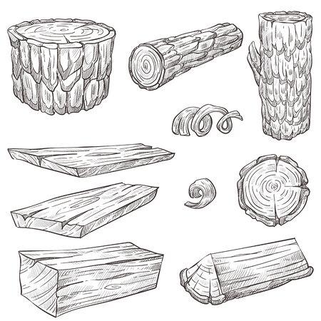 Baumstämme und Stumpf, Holz und Holznaturmaterialien isolierte Skizzen
