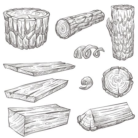 Logs and stump, wood and wooden natural materials isolated sketches