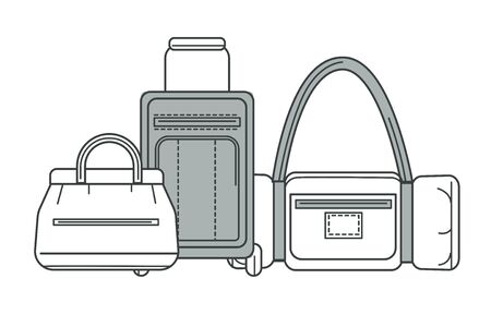 Baggage or luggage, suitcase and sport bag or valise isolated line icon