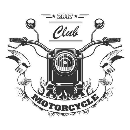 Moto y llama icono aislado, estampado de camiseta del club de motos Ilustración de vector