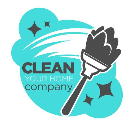 Duster and dust wiping, clean company isolated icon
