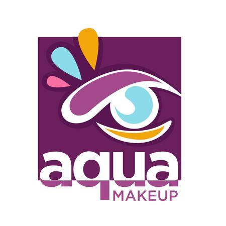 Color eye, aqua makeup isolated icon, natural cosmetics brand