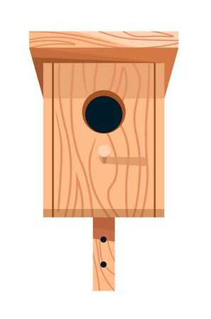 Nesting box or birdhouse isolated icon, wooden handicraft Иллюстрация
