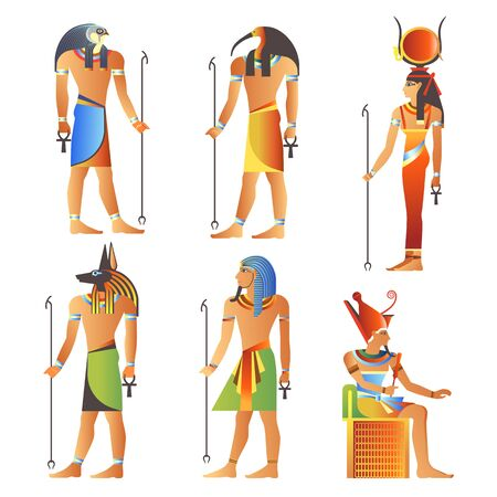 Egyptian gods and goddess, Pharaoh of Egypt, diety isolated icons Standard-Bild - 134393936