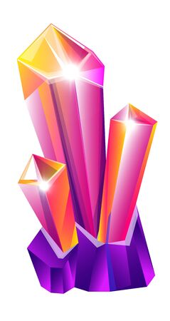 Gemstone or crystal isolated icon, red ruby mineral Vector Illustratie