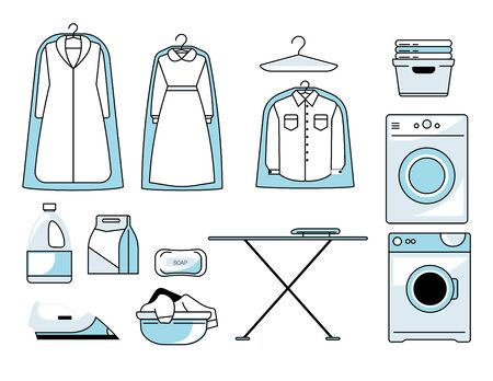 Dry cleaners or laundry room isolated icons, washing machine and ironing board Foto de archivo - 134393938