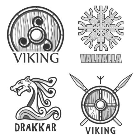 Scandinavian warriors equipment isolated icons, vikings armor