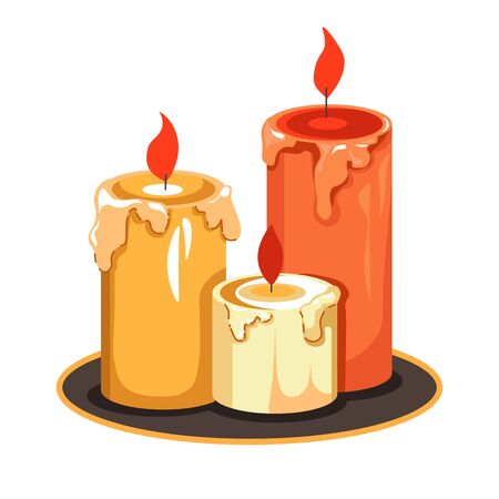 Candles on tray isolated icon, melting wax and flame