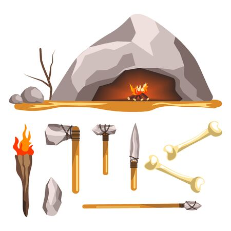 Stone age tools and cave isolated icon, history and primitive weapon Illusztráció