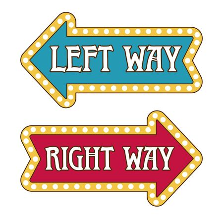 Arrow direction pointer templates, left and right way