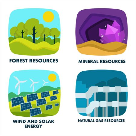Ecology, natural resources isolated icons, environmental protection Иллюстрация