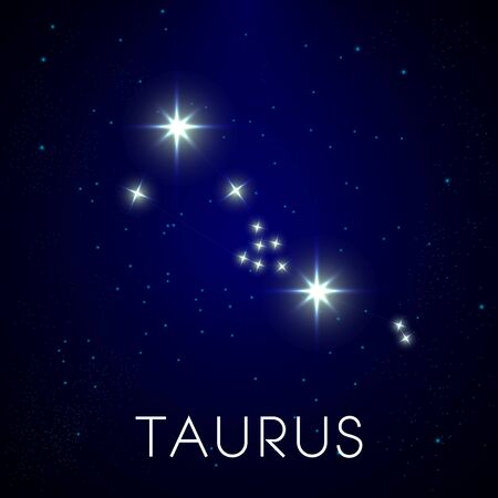 Zodiac constellation of Taurus in night sky, astrology and horoscope Illustration