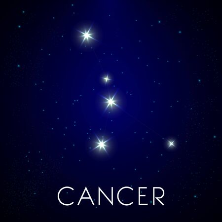 Constellation of Cancer zodiac sign, astrology and stars in night sky Illustration