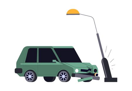 Car crash, vehicle hits streetlight, road accident isolated icon Illustration