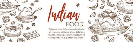 Cooking food, Indian cuisine menu restaurant sketch poster