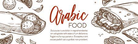 Restaurant menu of Arabic food sketch banner, Middle East cuisine