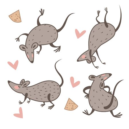 Rat and cheese, Chinese New Year symbol, animal dancing Vectores