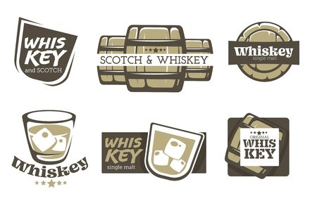 Whiskey and scotch isolated icons, alcohol drink production