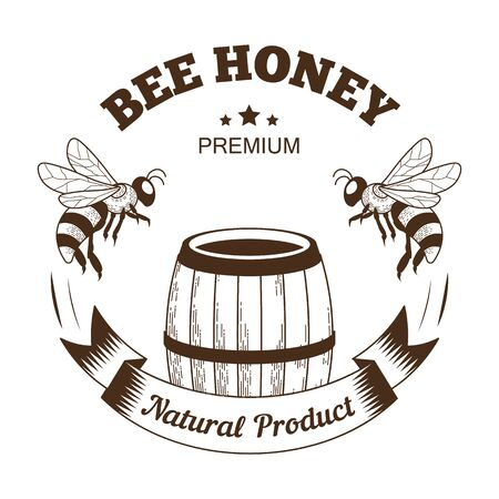 Bee honey isolated icon, barrel and flying insects, farm food