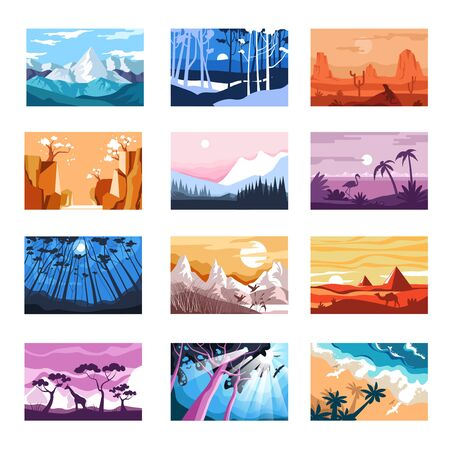 Landscapes isolated icons, mountains and beach, sunset and night vector. Desert and forest, African savannah and Chinese sakura blossom. Mountains and woods, coast and valley, animal silhouettes Иллюстрация