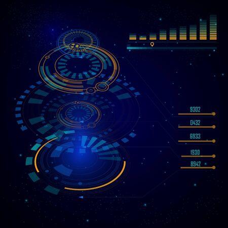 Interface utilisateur numérique HUD, interface utilisateur futuriste de science-fiction, graphiques virtuels ou vecteur graphique. Contexte de la technologie spatiale, espionnage de l'intelligence artificielle. Écran de système de surveillance cosmique, hologramme de vaisseau spatial