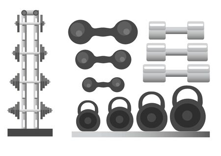 Sports equipment for gym and fitness isolated icons vector. Training tools and workout, exercising with barbells and kettlebells, sporting items. Heave weight lifting and muscles pump, body building Standard-Bild - 134598746