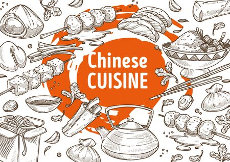 China cuisine menu sketch poster, Chinese food restaurant vector. Salmon on skewer and dumplings, rice and noodles in box, green tea teapot. Wish cookies and spring roll, chopsticks and soy sauce Illustration