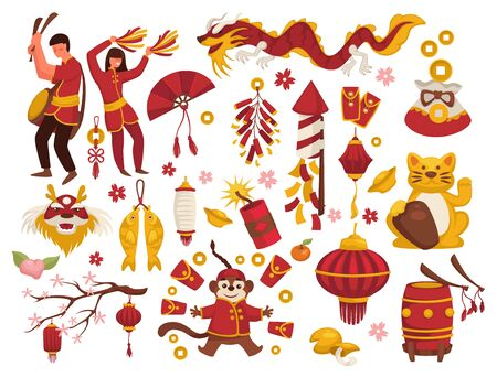 Chinese New Year symbols, asian man and woman, lantern and firecracker, isolated icons vector. Fan and maneki-neko cat, lucky coin and dragon. Drum and cookies with wishes, sakura and gold carps