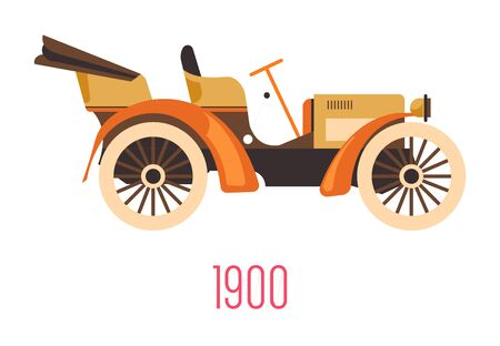 Vintage car, old retro vehicle with open top isolated icon vector. Transportation and automobile industry, motorcar development. Classic auto type, mechanic system, machine with reclining roof Illusztráció