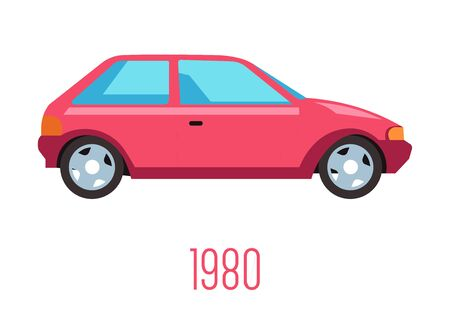 1980s car with two doors isolated icon, vintage vehicle