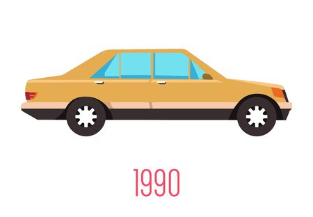 Vintage 90s car isolated icon, retro vehicle