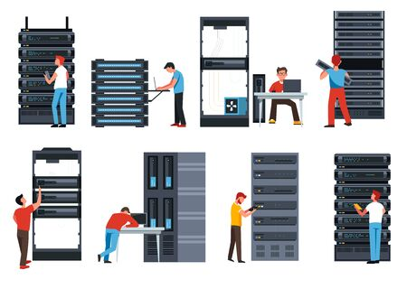 Internet modern IT technologies, server racks, digital information storage isolated icons vector. Devices and programmers, data center, laptops connected to database. Web files and applications, cloud