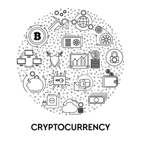 Cryptocurrency and blockchain system, bitcoin mining line icon