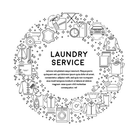 Dry cleaning, laundry service line icons, laundromat equipment vector. Washing machine, clothing and shoe, garments ironing and steaming. Clothes rack, household chemistry, washing powder and basket