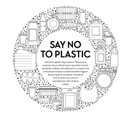 No plastic, recycling and ecology, disposable tableware line icons
