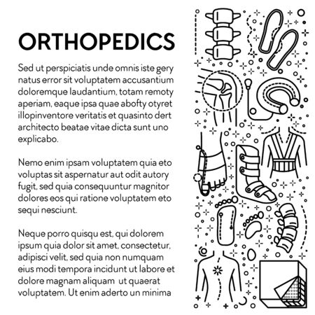 Injury rehabilitation tools, orthopedics line icons poster