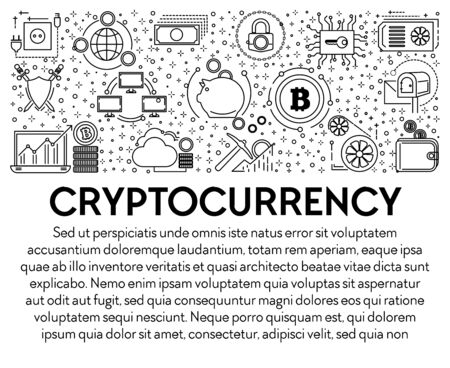 Cryptocurrency and bitcoin mining, blockchain system line icons banner