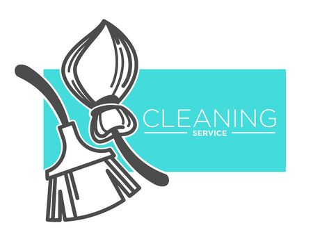 Brush and broomstick, cleaning service company isolated icon