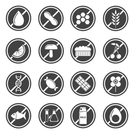 Divieto e divieto, prodotti soggetti a restrizioni, icone isolate dal cibo