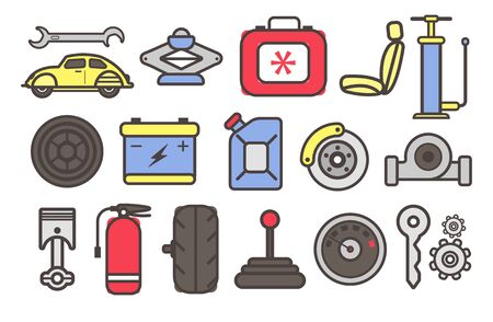 Auto parts and car repair service tools isolated icons