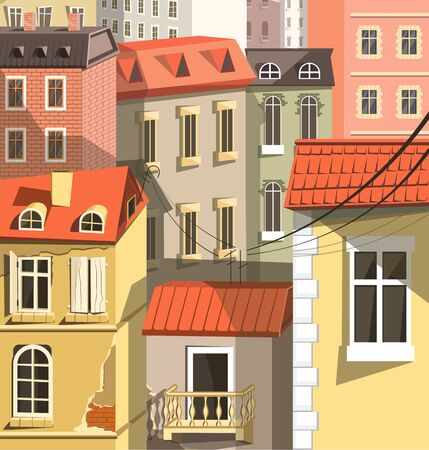 Cityscape closeup, old town houses in European style