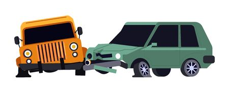 Car crash, vehicles collision, road accident and careless driving isolated icon vector. Wreckage and auto hood damage, insurance case. Transport and traffic rules violence, automobiles smash