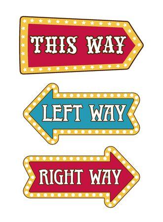 Way arrow pointer isolated icon, direction signboard Illusztráció
