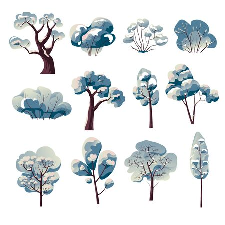 Winter tree watercolor paintings isolated icons
